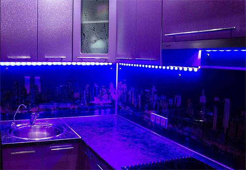 Подсветка кухни led лентой